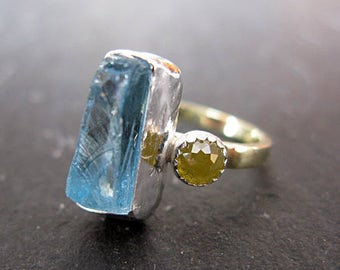 Aquamarine Engagement Ring 18K Rose Cut Yellow Diamond Ring Unique Engagement Ring Blue Gemstone Statement Ring Size 6 Raw Aquamarine Rough
