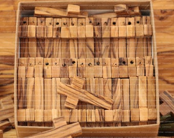 Small Olive Wood Crosses 3.6 cm 50 Crosses Retail Box Gift Version