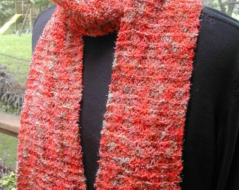 Hand-Knit Scarf  Orange and Tan Sparkly Yarn