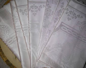 8 vintage Irish Linen Double Damask