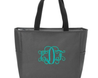 Zip Tote, Personalized Tote, Gifts for Her, Beach Bag, Shoulder Bag, Bridesmaid Gifts, Birthday Gifts, Coworker Gifts, Personalized Gift