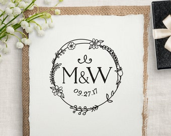 Wedding Stamp, Custom Rubber Stamp, DIY Wedding Stamp, Monogram Wedding Favor Stamp. Custom Wedding Stamp 2x2, 3x3, or 4x4 inches - W19
