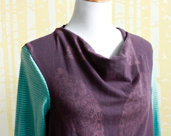 Two-tone Carnival Cowl Tee, choose your size and color combo in organic cotton accented with silk
