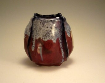 Roses and  violets - porcelain vase with copper red and drips of blue