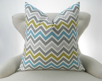 """Green Blue Zigzag Pillow Cover - for up to 28x28"""" pillow -chevron citrine yellow Zoom Zoom Summerland - decorative throw euro sham cushion"""