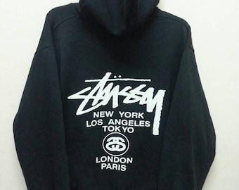 Vintage 90's Stussy Hoodies Sweatshirt Sweater Jumper Pullover Made in Usa Large size/Streetwear / Skateboard / HipHop / Rap