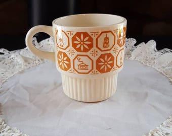 Vintage Mug, Oven Proof Mugs, Fire King, Anchor Hocking, Restaurant Coffee Cups, Tea, Mugs, Stacking Mugs, Nesting Cups, Retro Mug,