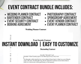 Event Planning Etsy - Wedding planner contract template