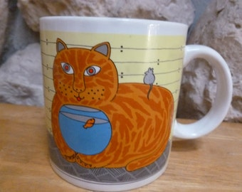Kitty Katfish mug by Taylor & Ng art by Win Ng 1981 cat mouse fish