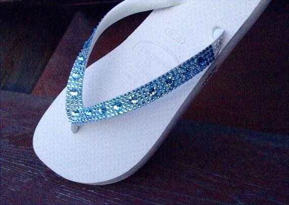 Blue Flip Flops Custom Crystal Shoe w/ Swarovski Aquamarine Full Moon Rhinestone Beach Wedding Bling Slip on Havaianas Cariris Bride Shoes