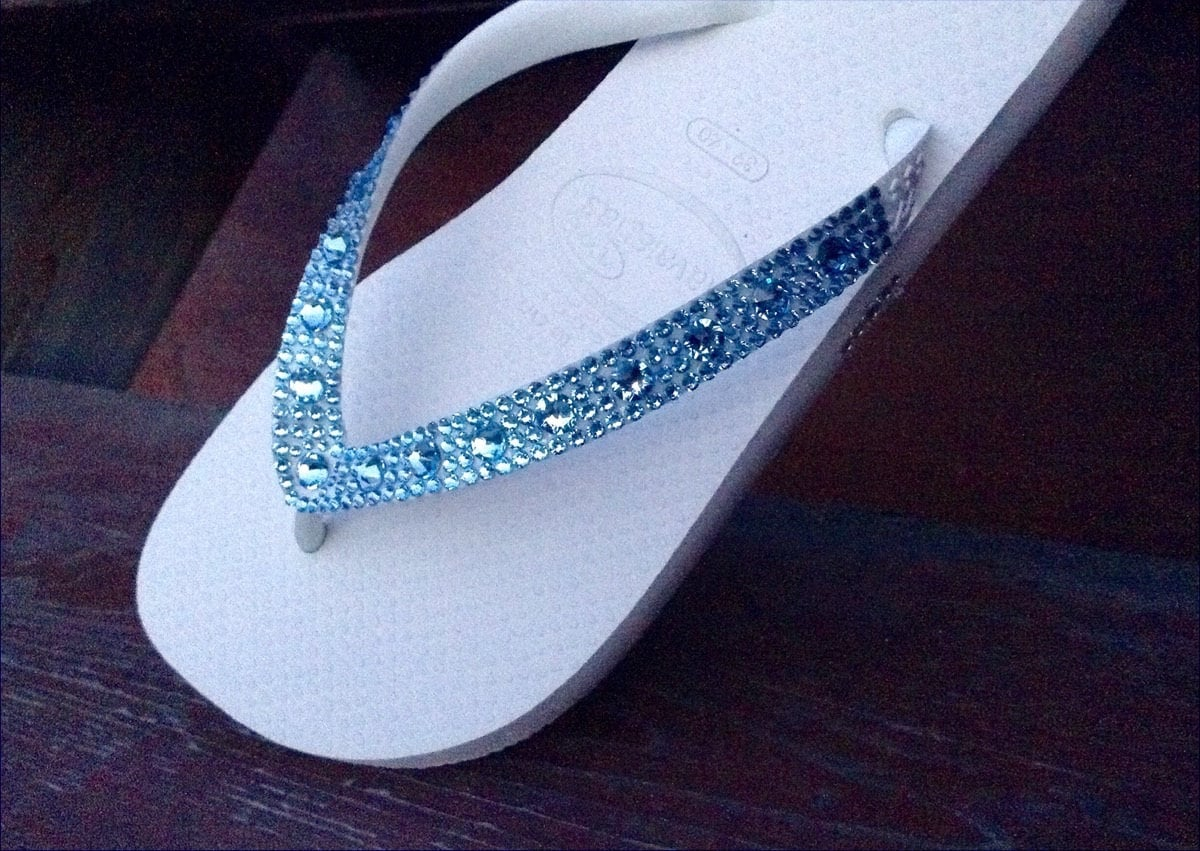 20cdc5e544114 Blue Flip Flops Custom Crystal Shoe w  Swarovski Aquamarine Full Moon  Rhinestone Beach Wedding Bling Slip on Havaianas Cariris Bride Shoes