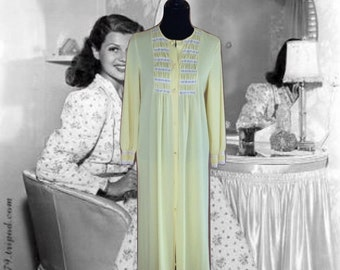 60's Nylon Robe  Vintage Lingerie  Light Yellow  White Lace  Full Length  Button Down  Nightgown  Gaymode Penny's