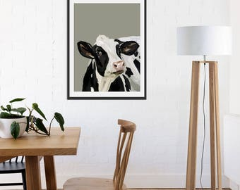 Cow Print. Cow Gift. Cow Painting. Cow Art by Green Lili. Wall Art. Art Gift. Wall Decor