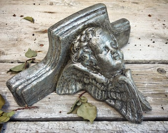1987 Ceramic Angel Wall Sconce, French Country Cottage Decor, Silver Angel Decor