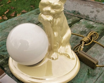 Vintage NOS Table Side Desk Lamp Ceramic Cat Italian Ball lamp Mother of Pearl
