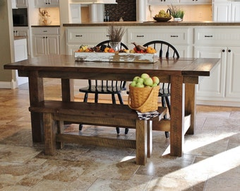 Rustic Farmhouse Bar Island Table With 6 Barstools 475000 Harvest W Two Removable Extensions
