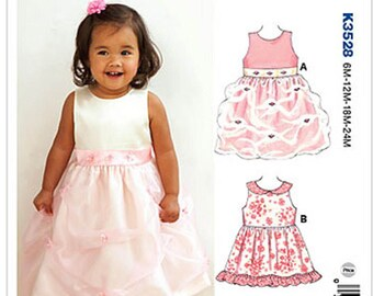 Sewing Pattern for Infants' Dresses, Kwik Sew Pattern 3528, Baby Girl Party Dress Pattern, 6 mos to 24 mos