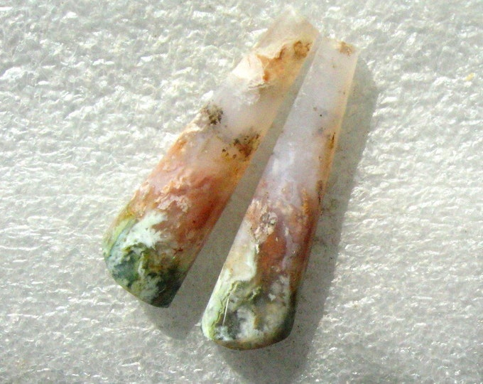 Nyssa Plume Agate matched earring cabochons
