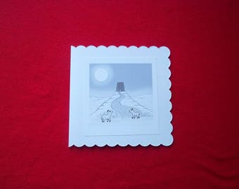 Greeting Card - The Lambs of Avalon Full Moon over Glastonbury Tor