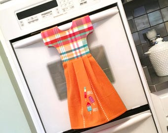 Summer Popsicle Kitchen Towel Dress / Dish Towel Dress / Tea Towel Dress with Chill Out Embroidery in Orange & Madras Plaid by Klosti