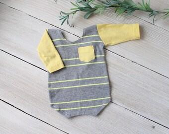 Neugeborenen Foto PROP Spielanzug, grau gelb Langarm - bereit zu versenden