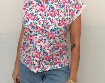80's floral button down top