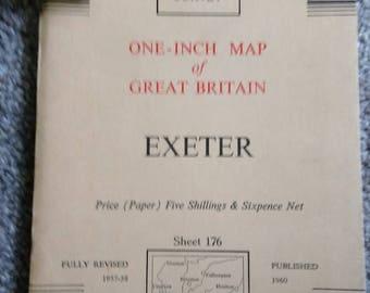 Vintage Ordnance Survey Map No. 176.  Exeter.   1960