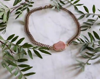 CALYPSO - collier ras de cou - collier chaine - collier pierre, gemmes, quartz - collier choker - turquoise - pierre semi-précieuses - gypsy