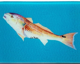 Red Drum fish glass Cutting Board blue background inshore fishing gift