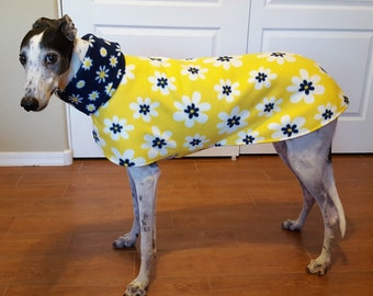 Coat for Greyhound with snood, Fleece, daisies yellow, blue and white (Small)