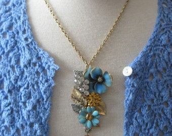 Vintage Jewelry Assemblage Pansy Flower Garden Necklace OOAK Cluster Collage Necklace