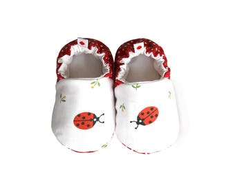 Ladybug Baby Booties, Baby Shoes, Cotton Baby, Infant, Newborn, Flower, Dotted