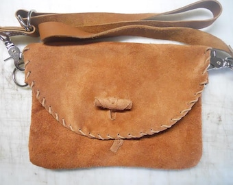 Leather Hip Bag - Distressed Suede Leather Bag - Ladies Bag - Men's Bag - Custom Made Tan Leather Bag