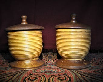 Two Hand-Made Wooden Jars / Containers