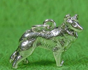 Collie Sterling Silver Dog Breed Charm Pendant -- Complimentary Ribbon or Cord