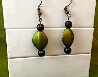 Green Leaf Earrings / Green Dangle Earrings / Long Dangle Earrings / Long Green Earrings / Nature Inspired Earrings / Ashbee's Accessories