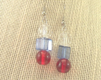 3 Bead Patriotic Earrings - Hand-made - Square and round beads