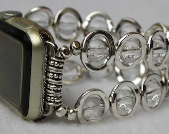 Apple Watch Band, Watch Band for Apple Watch, Silver Ovals and Clear Beads Band for Apple Watch