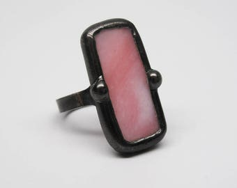 Pink Perfection - Sterling Silver Stained Glass Ring - Size 8