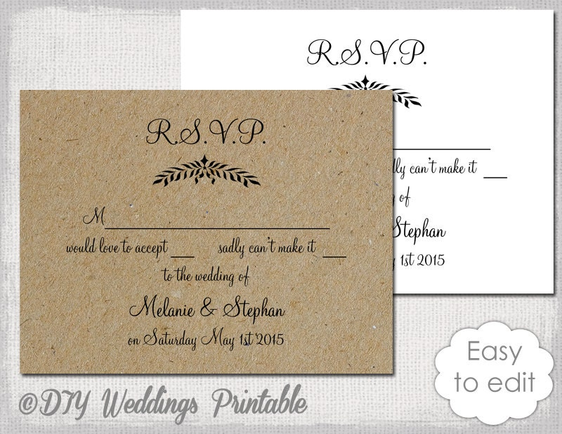 Rustic wedding rsvp template leaf garland for Rsvp cards for weddings templates