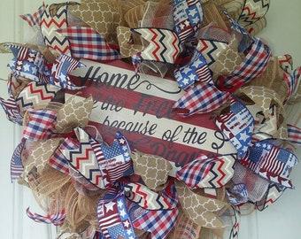 4th of July wreath - Patriotic wreath - July 4th Wreath - American Wreath - Summer Wreath - Front door Wreaths