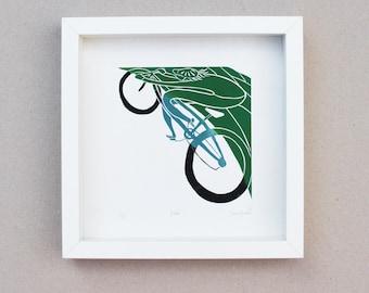 Bike bicycle cycling cycle ride linocut - handmade original limited edition wall art print - unique art gift - illustration 23cm x 23cm
