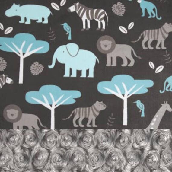Personalized Blanket, Baby Boy Minky Baby Blanket, Baby Gift, Blue Gray Zoo Animal Blanket, Custom Baby Blanket, Receiving Blanket swirl