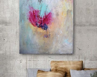 Original painting, Abstract painting on canvas, Pink and turquoise painting, abstract flower