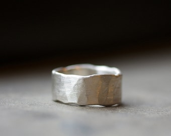 Wide Band Ring - Wide Silver Ring - WIDE Band Silver Ring - Unisex - Wedding Band - Mens Band - Mens Ring - Rustic Distressed Ring R4102