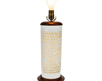 Vintage Seyei Blanc de Chine Reticulated Porcelain Table Lamp