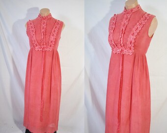 Vintage 70s Pink Maxi Prairie Dress Lace Empire Waist Sleeveless Hippie Dress Boho Wedding Guest Dress Formal Party Gown Jane Austen Dress