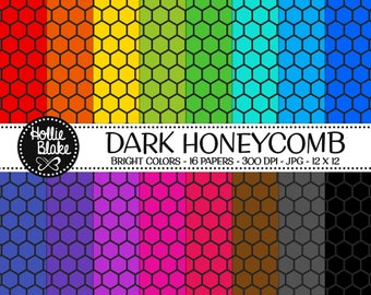 50% off SALE!! 16 Dark HoneyComb Digital Paper • Rainbow Digital Paper • Commercial Use • Instant Download • #HONEYCOMB-103-2-BD