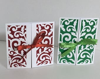1 Fancy Gated Card , Blank inside , Papercut , Winter , Christmas , Holiday , Red , Green