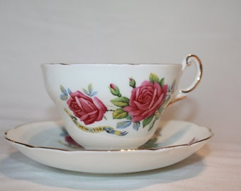 Regency Bone China New York Cup & Saucer, Pink Roses, Red Roses, Seal of New York, Vintage China, Vintage Cup and Saucer